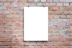 Free Poster Design Presentation Mockup. Blank Paper Poster Hanging Attached With Clips Royalty Free Stock Photo - 166273165