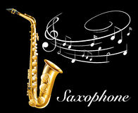 Poster design with saxophone and music notes Stock Image