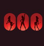 Poster design with silhouette cabaret burlesque Royalty Free Stock Image