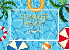 Poster design for summer party with ocean in background. Illustration Royalty Free Stock Photography