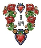 Poster or design t-shirt with traditional Mexican hearts with fire and flowers, embroidered sequins, beads and pearls.  Stock Photos