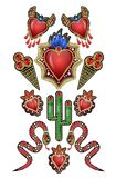 Poster or design t-shirt with traditional Mexican hearts with fire and flowers, embroidered sequins, beads and pearls.  Stock Image