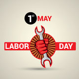 Poster design with text 1st May Labor Day. Poster, banner or flyer design with stylish text 1st May Labor Day and illustration of human hand fist holding wrench Vector Illustration