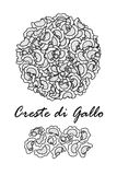Poster design for traditional Italian pasta, Creste di Gallo in black outline and white plane on white background. Royalty Free Stock Images
