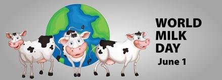 Poster design for world milk day Stock Images