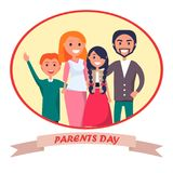 Poster Devoted to Parents Day Celebration. Poster devoted to parents day vector illustration of family including father, mother, teenage son, adolescent daughter Royalty Free Stock Images