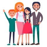 Poster Devoted to Parents Day Celebration. Poster devoted to parents day vector illustration of family including father, mother, teenage son, adolescent daughter Royalty Free Stock Photo