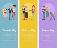 Poster Devoted to Woman s, Mother s, Parents Days. Poster devoted to Women s, Mother s, and Parents Day. Vector illustration of happy families celebration some Stock Photo