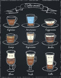 Poster of different  coffee in vintage style drawing with chalk on the blackboard. Royalty Free Stock Photography