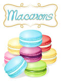 Poster of different flavours macarons Royalty Free Stock Photo