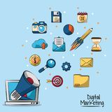 Poster of digital marketing in blue background with megaphone coming out of lcd monitor in closeup and marketing icons. In background vector illustration Royalty Free Stock Images
