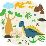 Poster with dinosaur and eggs - vector illustration, eps stock illustration