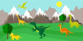 Poster with dinosaurs on the background of a mountain landscape stock photo