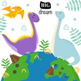 Poster with dinosaurs on the globe - vector illustration, eps stock illustration