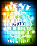 Poster of disco party with colorful squares, white Royalty Free Stock Image