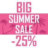Pink palms, a big summer sale for 25 percent stock illustration