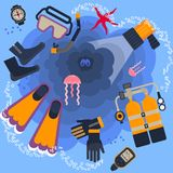 Poster diving equipment Stock Image