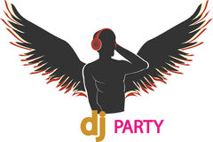 The poster of the DJ with wings Royalty Free Stock Photos