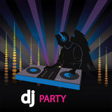 The poster of the DJ with wings Stock Photography
