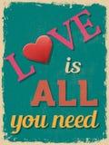 Poster do dia do Valentim Projeto retro do vintage Fotos de Stock