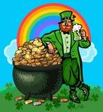 Poster do dia do St Patricks Duende dos desenhos animados que guarda a caneca de cerveja que inclina-se no potenciômetro completa ilustração royalty free