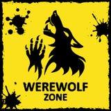 Poster do vetor Zona do homem-lobo Fundo amarelo Foto de Stock