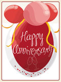Poster with Double Bubble Balloon for a Anniversary Event, Vector Illustration Royalty Free Stock Image