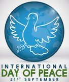 Outline Dove holding Olive Branch over Globe for Peace Day, Vector Illustration Royalty Free Stock Photo
