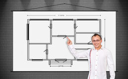 Poster with drawing blueprint Stock Images