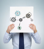 Poster with drawing cogs Royalty Free Stock Photography