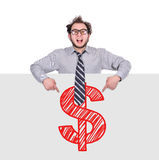 Poster with drawing dollar Royalty Free Stock Photography