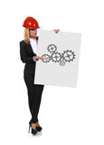 Poster with drawing gears Stock Photography