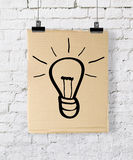 Poster with drawing lamp Royalty Free Stock Image