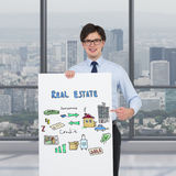 Poster with drawing real estate concept Stock Image