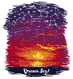 Poster for dreams with ocean sunset and starry sky in sketch style. Vector illustration Royalty Free Stock Photo