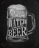 Poster drink beer chalk Stock Images