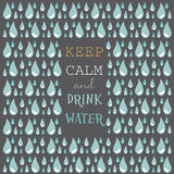 Poster drops. And label drinking water. Background gray, blue drop Royalty Free Stock Image