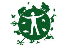 Poster Earth we have one. Vector green silhouettes of the Earth, various animals, trees, plants, insects and human isolated Royalty Free Stock Image