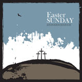 Poster for easter with Calvary and three crosses Stock Photos