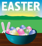 Poster Easter eggs in a turquoise plate on a wooden table. Bunny Stock Images