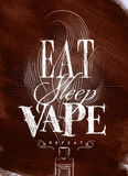 Poster eat sleep vape brown. Poster with vaporizer and smoke cloud in vintage style lettering eat, sleep, vape repeat drawing on brown background Stock Image
