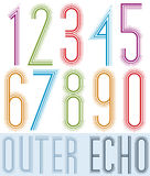Poster echo condensed colorful light numbers with stripes on whi Stock Photography
