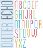 Poster echo light striped font, bright condensed geometric upper Stock Images