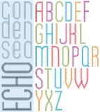 Poster echo light striped font, bright transparent condensed upp Royalty Free Stock Photography
