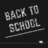 Poster educational back to school written with chalk on a blackboard. Vector Stock Photography