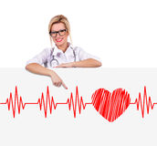 Poster with electrocardiogram Stock Photos