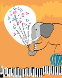 Poster with an elephant playing jazz vector illustration