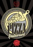 Poster with the emblem pizza and an inscription. Vector poster with the emblem pizza and an inscription Royalty Free Stock Images