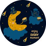 Poster enjoy every moment with the moon - vector illustration, eps vector illustration