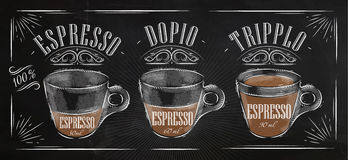 Poster espresso chalk. Poster coffee espresso in vintage style drawing with chalk on the blackboard Royalty Free Stock Images